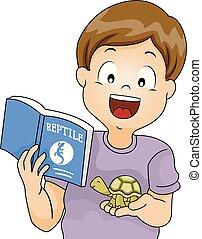 Kid Boy Turtle Reptile Book Illustration