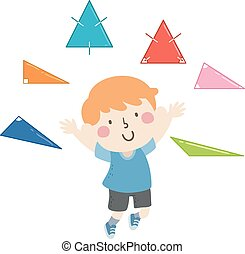 Illustration of a Kid Boy Showing Different Types of Triangles with Angles and Congruent Sides