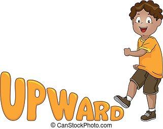 Kid Boy Upward Illustration