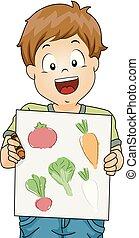 Kid Boy Vegetable Color Drawing Illustration