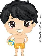 Kid Boy Volleyball Player Illustration
