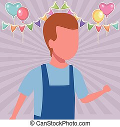 Kid boy walking cartoon birthdays party