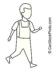 Kid boy walking cartoon black and white