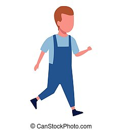 Kid boy walking cartoon