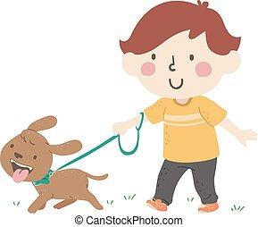 Kid Boy Walking Dog