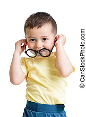 kid boy wearing glasses isolated on white