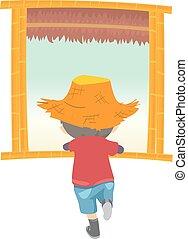 Kid Boy Window Farm Illustration
