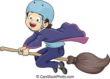 Kid Boy Witch Student Helmet