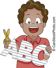 Kid Boy with ABC letters Paper Cutout - Illustration of...