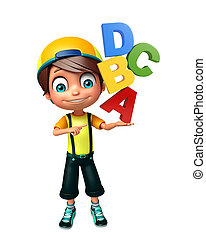 kid boy with ABCD sign