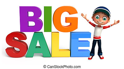 kid boy with bigsale sign