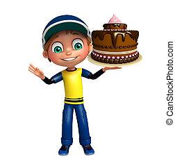 kid boy with cake