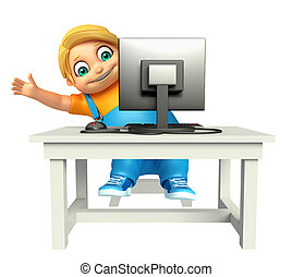 Kid boy with Computer