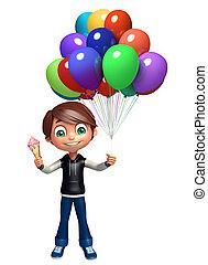 kid boy with ice cream & balloons