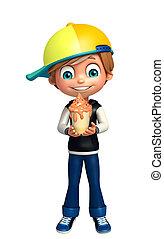 kid boy with ice cream