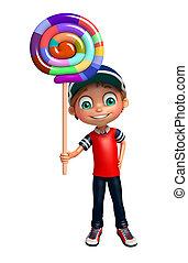 kid boy with lollipop