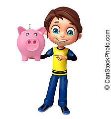 kid boy with piggy bank