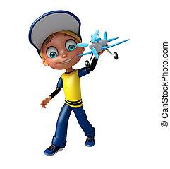 kid boy with plane
