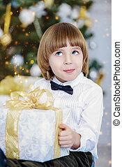kid boy with present