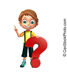 kid boy with question mark sign