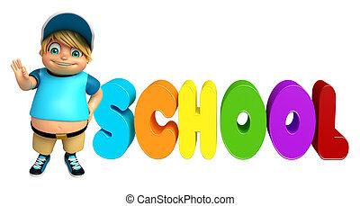 Kid boy with School sign