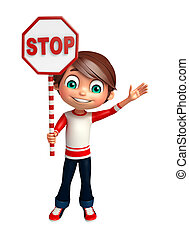 kid boy with stop sign