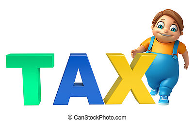 kid boy with Tax sign