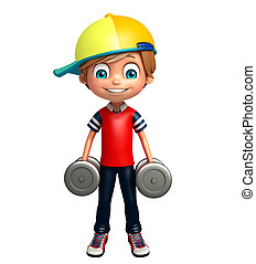 kid boy with weight