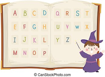 Kid Boy Wizard Alphabet Book Illustration