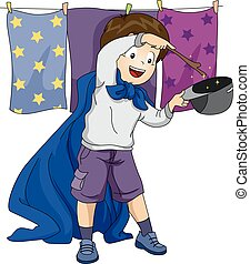 Kid Boy Wizard Play - Illustration of a Boy playing as a...