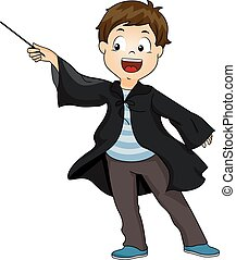 Kid Boy Wizard Wand Wave - Illustration of a Little Boy...