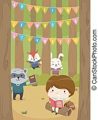 Kid Boy Woodland Animals Book Alphabet