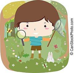 Kid Boy Woodland Explorer Illustration