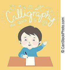 Kid Boy Write Calligraphy Lettering Illustration