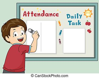 Kid Boy Write Classroom Board Illustration