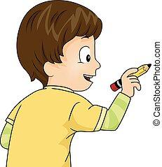 Kid Boy Write Pencil