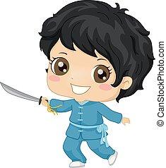 Kid Boy Wushu Illustration