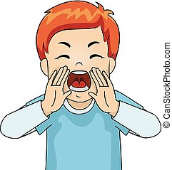 Kid Boy Yelling Angry - Illustration of a Young Male Redhead...