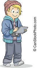 Kid Boy Young Journalist Illustration