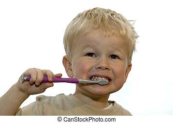 Kid brushing teeth - three year old brushing his teeth