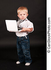 kid businessman with a laptop