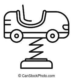 Kid car spring icon, outline style
