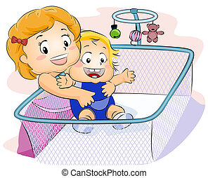 Illustration of a Kid Trying to Carry her Baby Brother