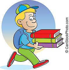 Kid carrying books