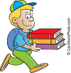 Kid carrying books - Cartoon illustration of a kid carrying ...