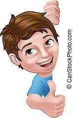 Kid Cartoon Boy Child Thumbs Up Sign