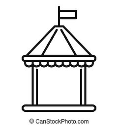 Kid castle tent icon, outline style