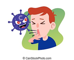 Kid Character Coughing seriously due to coronavirus. Prevention against Virus and bacteria. Flat art vector .