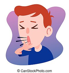 Kid Character Coughing seriously. Prevention against Virus and bacteria. Flat art vector .