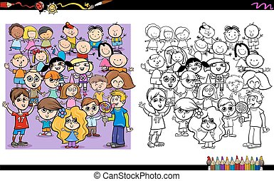 kid characters coloring book